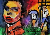 Farben, Menschen, Gesicht, Malerei