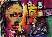 Farben, Skurril, Frau, Expressionismus