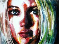 Aquarellmalerei, Blick, Frau, Ausdruck