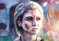 Portrait, Blick, Frau, Licht