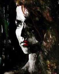 Portrait, Aquarellmalerei, Blick, Frau