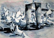 Vogel, Bein, Füttern, Aquarellmalerei