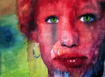 Lippen, Pink, Aquarellmalerei, Blick