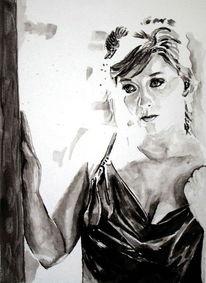 Blick, Monochrom, Aquarellmalerei, Portrait