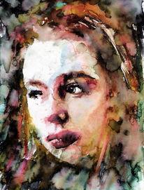 Gesicht, Portrait, Farben, Aquarellmalerei