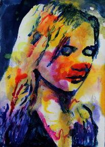 Frau, Gesicht, Farben, Blick ausdruck