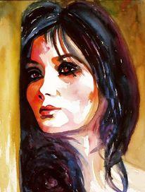 Frau, Ausdruck, Gesicht, Aquarellmalerei