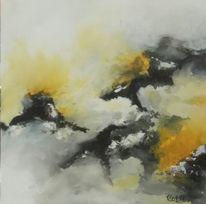Acrylmalerei, Vulkan, Berge wolken, Landschaft