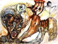Menschen, Tusche, Signatur, Aquarellmalerei