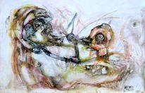 Verhandlung, Menschen, Vogeltier, Zeichnungen