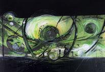 Schwarz, Acrylmalerei, Stadt, Grün