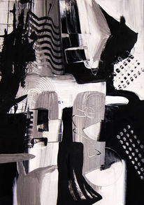 Acrylmalerei, Abstrakt, Schwarz weiß, Grau