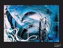 Schwarz weiß, Blau, Abstrakt, Acrylmalerei