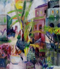 Garten, Haus, Pflanzen, Malerei