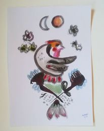 Mond, Sonne, Tuschmalerei, Vogel