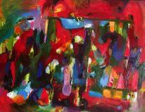 Grün, Rot, Garten, Abstrakt