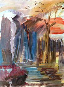Naturgewalt, Berge, Wind, Stein
