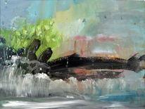 Wolken, Aquarellmalerei, Felsen, Gewitter