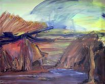 Steppe, Berge, Abstrakt, Naturgewalt