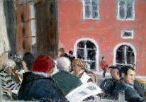 Cafe, Menschen, Mittelalter, Haidplatz