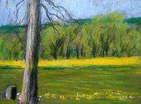Frühling, Feld, Baum, Malerei