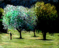 Golfplatz, Menschen, Baum, Rasen