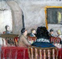 Menschen, Stadt, Cafe, Malerei