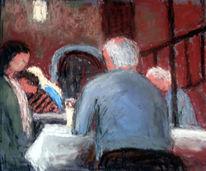 Menschen, Gotik, Cafe, Malerei