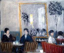 Stadt, Menschen, Cafe, Malerei