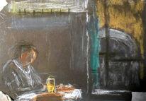Bier, Fenster, Mann, Malerei