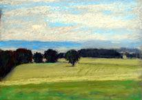 Donau, Landschaft, Pastellmalerei, Malerei