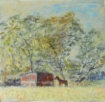 Wiese, Pferde, Frühling, Malerei