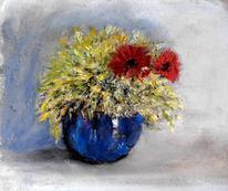 Blau, Blumen, Vase, Malerei