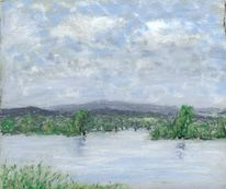 Donau, Baum, Überschwemmung, Malerei