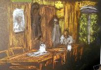 Skizze, Cafe, Menschen, Malerei