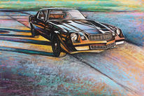 Vintage car, Chevrolet, Pastellmalerei, Camaro