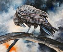 Krähe, Rabe, Ölmalerei, Malerei