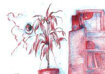 Kontrast krass, Zeichnungen, Rot,