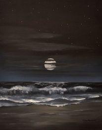 Nacht, Strand, Mond, Brandung