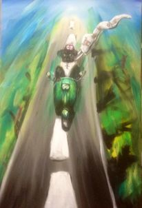 Motorrad, Hund, Malerei