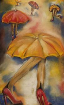 Bein, Schuhe, Schirm, Malerei