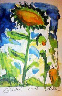 Herbst, Orange, Garten, Sonnenblumen