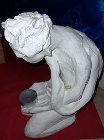 Ton, Weiß, Hocken, Skulptur
