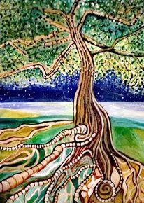 Nachthimmel, Kiefer, Leben, Acrylmalerei