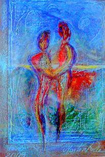 Zerfließen, Verliebtes paar, In landshaft, Malerei