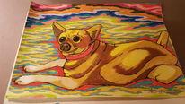 Bunt hund süss, Bleistiftzeichnung, Freude, Zeichnung