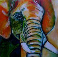 Bunt, Tiere, Elefant, Acrylmalerei