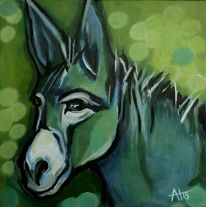 Grün, Tierportrait, Esel, Blau