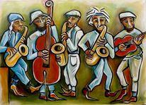 Menschen, Saxofon, Rhythmus, Kontrabass