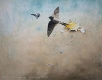 Kampfjet, Malerei, Durchbruch, Vogel